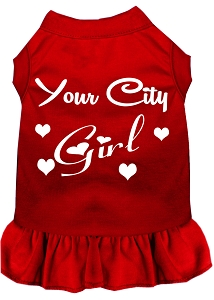 Custom City Girl Screen Print Souvenir Dog Dress Red Med